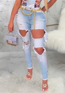 Jeans de cintura alta rasgados con corte celeste de verano