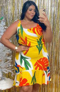 Vestido de sirena con tirantes florales de verano de talla grande