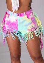 Summer Tie Dye High Waist Fringe Denim Shorts