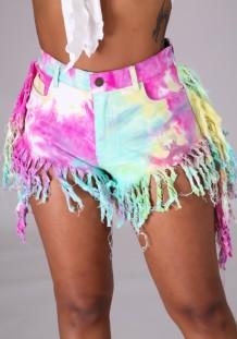 Shorts de mezclilla con flecos de cintura alta con efecto tie dye de verano