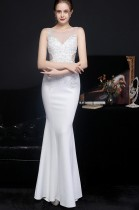 Vestido de noite verão renda superior sem mangas branco sereia