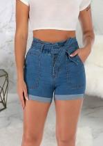 Summer Blue High Waist Regular Denim Shorts