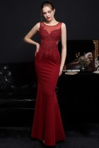 Летнее кружевное вечернее платье с красными рукавами без рукавов