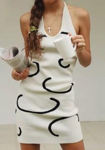 Mini robe débardeur licou en tricot décontracté d'été
