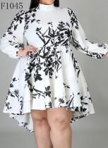 Vestido de fiesta de manga larga alto-bajo blanco con estampado de tallas grandes de verano