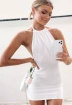 Sommer Casual Knitting White Sexy Backless Neckholder Mini Sommerkleid