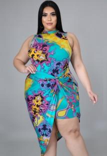 Vestido de fiesta irregular sin mangas retro con estampado de verano de talla grande