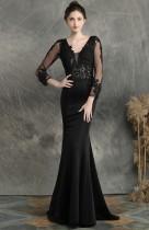 Летнее кружевное вечернее платье с длинным рукавом и v-образным вырезом, черное платье с русалкой