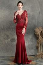 Summer Lace Upper Long Sleeve V-Neck Red Mermaid Evening Dress