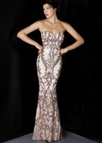 Summer Golden Sequins Strapless Mermaid Evening Dress