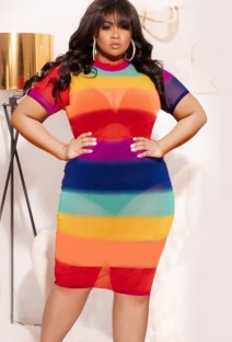 Vestido ajustado sexy de manga corta con arcoíris de talla grande de verano