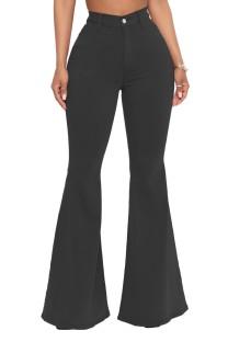 Jeans acampanados de cintura alta negros de verano