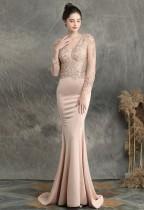 Summer Lace Upper Long Sleeve V-Neck Beige Mermaid Evening Dress