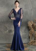 Летнее кружевное вечернее платье с длинным рукавом и V-образным вырезом синего цвета с русалкой