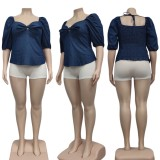 Blusa jeans plus size com nó azul com mangas curtas