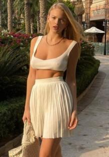Soutien-gorge blanc sexy décontracté d'été et ensemble de jupe plissée 2PC assortie