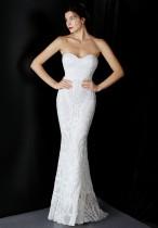 Vestido de noiva de lantejoulas brancas de verão sem alças, sereia