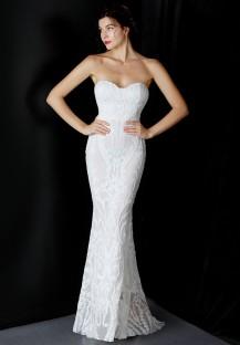 Vestido de novia de sirena sin tirantes con lentejuelas blancas de verano