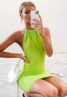 夏のカジュアル編みグリーンセクシーな背中の開いたホルターミニドレス