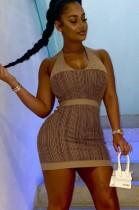 Mini vestido de club con estampado de rayas de verano