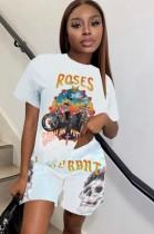 Sommer Casual Print Schwarzes O-Neck Shirt und passende Shorts 2PC Set