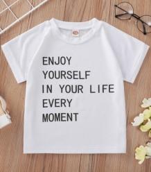 Летняя детская белая обычная рубашка с круглым вырезом и принтом для девочек