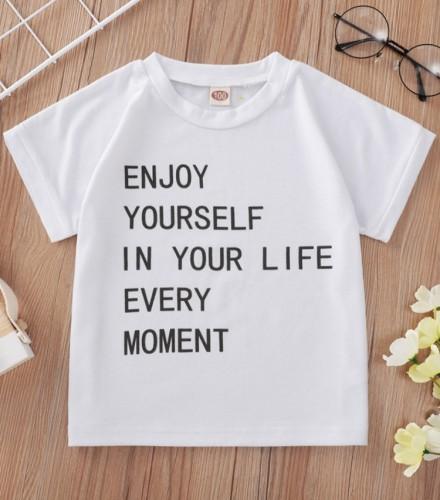 Summer Kids Girl Print Weißes normales Hemd mit O-Ausschnitt
