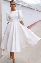 Sommer formelle weiße Puffärmel O-Ausschnitt Abendkleid