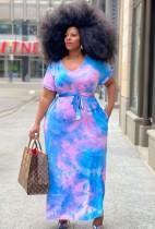 Vestido largo largo con cuello en O Tie Dye de verano de talla grande