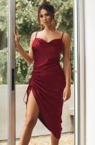 Sommer formelle Burgunry Satin Multi-Way Strap lange Partykleid
