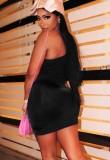 Mini robe de soirée formelle à une épaule froncée à ficelles d'été
