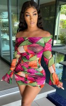 Summer Print Sexy Off Shoulder Ruched Strings Mini Dress with Bell Sleeve Cuffs