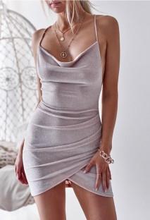 Mini robe club d'été sexy à bretelles métalliques