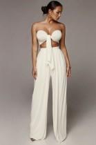 Conjunto de pantalones anchos de cintura alta y top bandeau anudado blanco sexy de verano