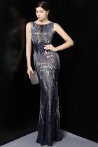 Summer Sequins Sleeveless O-Neck Mermaid Evening Dress