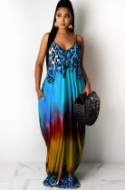 Vestido maxi largo con tirantes coloridos y estampado informal de verano