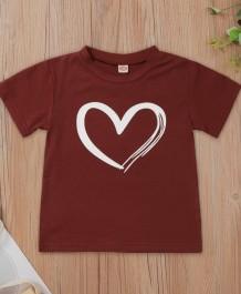 Летняя детская обычная рубашка с круглым вырезом и принтом сердца для девочек