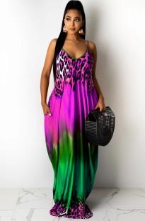 Летнее повседневное длинное платье макси с яркими бретелями и принтом