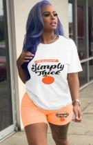 Sommer Casual Print O-Neck Shirt und Biker Shorts Set