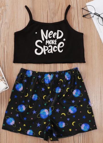 Conjunto de shorts e blusa de alça preta com estampa feminina de verão infantil