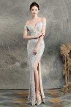 Summer Sequins Sweetheart Lace-Up Slit Evening Dress