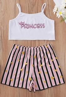Summer Kids Girl Print Strap Crop Top e Shorts Set