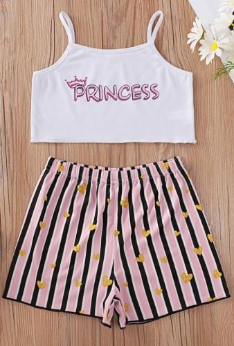 Conjunto de calções e tops com estampa infantil feminina de verão