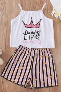 Set di gilet e pantaloncini con cinturino con stampa Summer Kids Girl