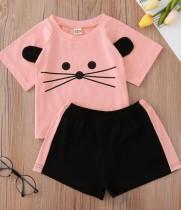 Set maglietta e pantaloncini con stampa animali per bambina e bambina estiva