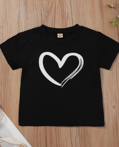 Summer Kids Girl Herzdruck O-Neck Regular Shirt