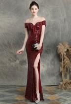 Vestido de noite de lantejoulas querida com renda com fenda