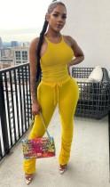 Sommer lässige gelbe passende Weste und gestapelte Hosen Set