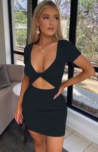 Mini abito con scollo a V tagliato a maglia sexy nero estivo