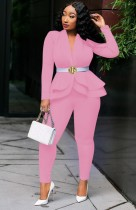 Весенний деловой розовый топ с баской с длинными рукавами и брючный костюм